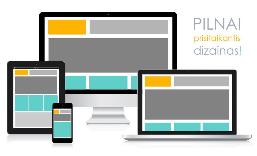 Mobili svetainės versija, prisitaikanti prie skirtingų įrenginių